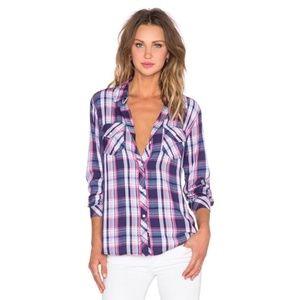 NWOT Rails Carmen Pink Navy Plaid Button Up Shirt